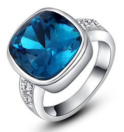 $enCountryForm.capitalKeyWord Canada - Beautiful design Womens Blue Gemstone Square Cut Spphire White Gold Engagement Wedding Ring Crystal Inlay Band