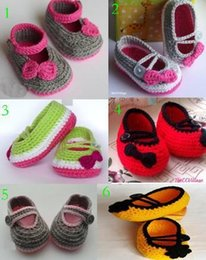 wholesale cotton baby booties Canada - 2015 Crochet Cotton Baby Booties handmade toddler shoes Autumn Toddler shoes,Crochet pretty baby shoes,bow china shoes 0-12M cotton