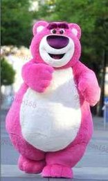 Discount pink bear mascot costume - EMS Free Shipping Outfit Costumes Suit Pink Bear Cartoon Mascot Costume For Adults Despicable Me Show