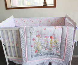 baby quilt embroidery Australia - 2016 100% cotton 7Pcs Baby bedding set Embroidery 3D pink Wild flower Crib bedding set Bedskirt Quilt Bumper Mattress Cover Cot bedding set