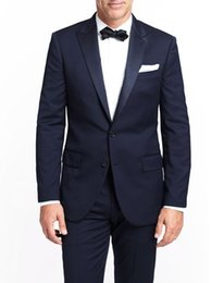 $enCountryForm.capitalKeyWord Canada - Navy Blue Mens Wedding Suits 2015 Two Buttons Groom Tuxedos with Satin Peaked Lapel Custom Made Formal Prom Suits (Jacket+Pants+Bow Tie)