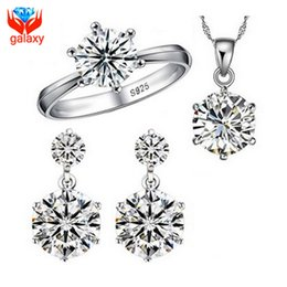Diamond Jewelry Sets Sale NZ - Hot Sale 925 Sterling Silver Bridal Jewelry Sets 1 Carat Cubic Zircon Diamond Ring Necklace Earrings Wedding Jewelry Sets ZS1264