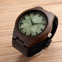 green watches for men NZ - Ebony Wooden Watch japanese miyota 2035 movement casual wristwatches genuine leather wood watches green dial with scale for men women