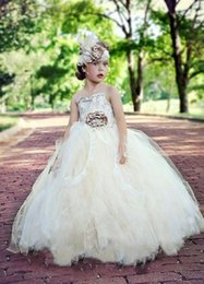 $enCountryForm.capitalKeyWord NZ - Vintage Flower Girls Dresses Lace 2016 Tulle Flower Little Kids Dresses Gowns A-Line Flower Girl Party Dresses Special Occasion For Weddings