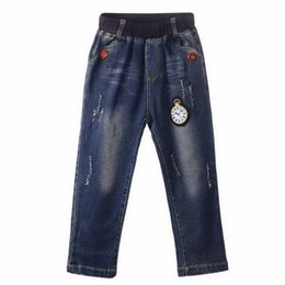 China Brand 2016 Retail Top Sale Boys Cartoon Watch Pattern Jeans Autumn Ruffle Boys Trousers Kids Clothing PT81016-4 suppliers