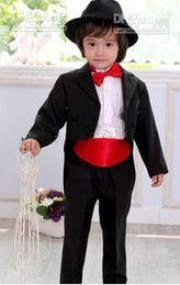 Custom Make Clothes Canada - New Fashion Kid Complete Designer Boy Wedding Suit Boys' Attire Custom-made Boy Wedding Suit(clothes+pants+tie+girdle)