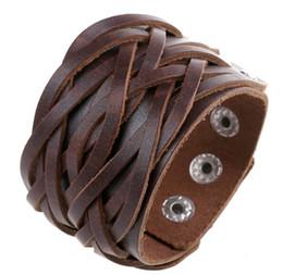$enCountryForm.capitalKeyWord UK - New Style Vintage Antique Wide Belt Genuine Leather Bracelets Bangles Punk Style Knitted Bracelet Men Jewelry DIY Handmade Braid HJIA037