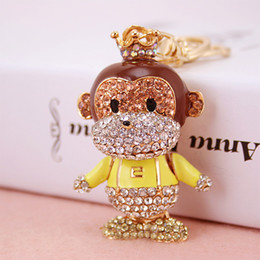 monkey handbags UK - Drop shipping Key ring holder,cute Monkey key chains,Purse handbag Charms,Nice Gift Real Gold Plated Alloy Keyring,free shipping