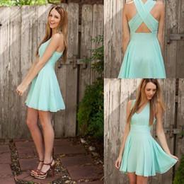 Discount short chiffon party dress green - Charming Chiffon V Neck Mint Green Homecoming Dresses 2019 Short Prom Dresses Cross Back Cheap Party Gowns Cheap