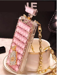 Discount perfume bottles phone case iphone 5s 2017 For iPhone6s Perfume Bottle Diamond Mobile Phone Case Lanyard Case 5S Rhinestone Mobile Phone Case with Opp Package