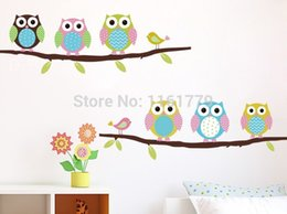 Discount cute owl paintings - 2015 New Cartoon children's room bedroom walls painted decorative stickers cute Owl Animal branch Wall Stickers
