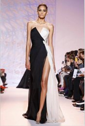Robe De Soirée Blanche Mousseline Sans Bretelles Pas Cher-2015 Zuhair Murad Robes de soirée noires et blanches Sans bretelles Sexy Backless mode de courir Mode Celebrity Dress Split Side Robes de bal