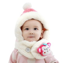 monkeys hats NZ - Kid Caps Soft Winter Cute Monkey Thick Cotton Earflap Hats With Pom for 1-3 years old