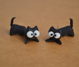 $enCountryForm.capitalKeyWord NZ - Personalized Polymer Clay Accessories Earring For Women Lovely Cartoon Cat Ear Stud Fashion Earrings Wholesale 12 Pairs