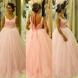 Cuello Sin Mangas Baratos-Fabulous Blush Pink Prom Dress Formal Evening Party Gowns Unique Neck Sin mangas Backless Tulle Vestidos formales Exquisite Reading Top