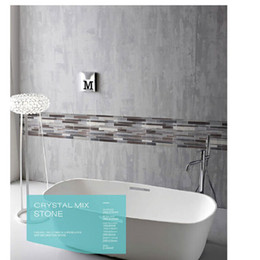 Mosaic Tile Cheap Grey Series Long Strip Bathroom Mosaic Tiles Pattern Backsplash Wall Tiles Crystal Mixed Stone