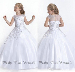 Filles Taille 12 Robe Blanche Pas Cher-2016 Cheap Crystal Short Sleeves Flowergirl White Flower Girl Robes Robes Little Girls Pageant Robes Taille Little Pageant Gowns pour les filles