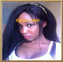 Afro Kinky Hair Shipping Australia - 2016 free shipping 1#,1b,2#,4#,Natural Color Malaysian Virgin Hair Afro Kinky Straight Coarse Yaki Full Lace wig with baby hair
