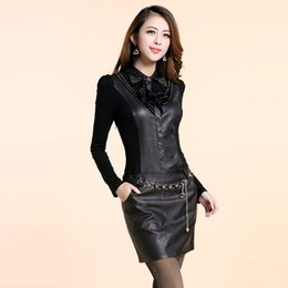 Xl Robe En Cuir Volant Pas Cher-Nouvelle mode Sexy Women Bandage Bodycon Dress PU Leather Dress Long Sleeve Slim Patchwork Sequins Ruffle Diamante Collar Belt