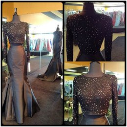 Barato Projetos De Vestido De Baile Preto-2016 Unique Design Two Piece Prom Dresses Long Sleeve Lace Top com Beading Stain Mermaid vestidos de festa Moda Vestidos De Fiesta
