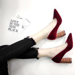 black velvet shoes 2019 - Velvet Wedding Shoes For Women Red Wine High Heels Top Quality Bridal Shoe 2018 Winter Wear cheap black velvet shoes