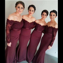 Photo Beads Canada - Real Photos Long Sleeves Mermaid Bridesmaid Dresses 2017 Burgundy Lace formal Prom gowns Beads Maid of Honor vestido para casamento