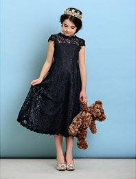 Wholesale junior tea dress 14 for sale - Group buy Bateau A line Princess Jewel Tea length Lace Short Sleeve Junior Bridesmaid Dress