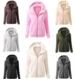 Barato Hoodies Com Colarinho-Solid Color Sherpa Pullover Thick Hoodies Streetwear Mulheres Casual Zipper Collar Sherpa Hoodies Sweater Sweatshirts LJJO3746