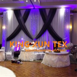 curtain sequin Canada - Wholesale Price White And Black 3M*6M Wedding Backdrop Curtain \ Stage Background With Silver Sequin Fabric For Event Decoration
