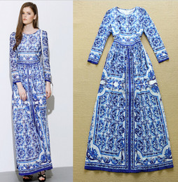 blue white print dress Canada - High Quality Runway Fashion Maxi Dress Women's Long Sleeve Blue and White Porcelain Printed Celebrity Holiday Long Dress