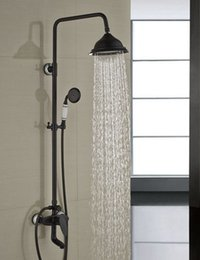 "$enCountryForm.capitalKeyWord NZ - Wholesale And Retail Luxury 8"" Rain Shower Faucet Set Single Handle Tub Spout Mixer Tap W  Hand Sprayer Oil Rubbed Bronze"