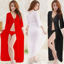 692df9d038 New Promotion Women Sexy Long Sheer Mesh Lingerie Erotic Transparent Gauze Dress  Lace Nightdress Black White Red Sleepwear