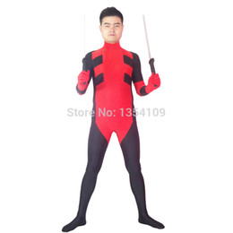 Costume Lycra Spandex Rouge Pas Cher-Custom Red Mens Deadpool Costume Halloween Party Cosplay Costume ZenTai