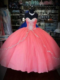 Images 15 Robes Pas Cher-Robes Quinceanera Corail Vintage Pas Cher Jupe Puffy Quinceanera Robes Volants Couches Tulle Sweetheart Pour 15 Ans Robes De Bal Party