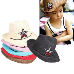 Discount straw hat crochet girl - Wholesale-#F9s Children Straw Braid Cowboy Sun Hat Boy Girl Cap Star Applique Topee