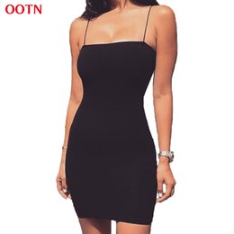 Barato Mulheres Vestidas De Meninas Da Escola-Atacado- OOTN Slip Dress Women Work Dresses Black Sexy Spaghetti Strap Feminino Bodycon Evening Party Club Summer Vintage Robes School Girl