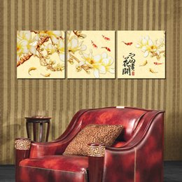 potted peony NZ - 3 Pieces Modern Painting Art Paint on Canvas Prints potted flower fish chinese characters peony candle Wax gourd cattle Abstract women glass