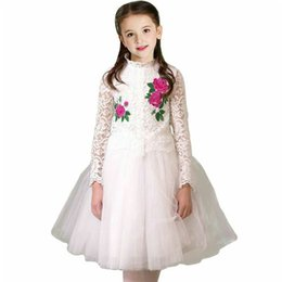 $enCountryForm.capitalKeyWord Canada - Kids Girls Lace Dresses Baby Girl Floral Embroidery Tulle Dress Infant Princess Flower Dress for Party 2018 Spring Children Clothing D222