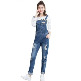 Cravate En Jean Jumpsuit Été Pas Cher-Gros- Korean Style Summer Denim Combinaisons 2017 Mode Femmes Salopettes Femme Ripped Slim Trou Denim Strap Pantalon Preppy Style