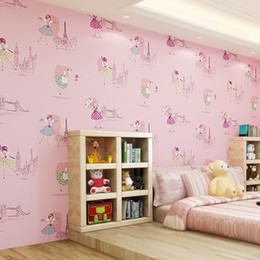 korean wallpaper pink bedroom NZ - Cute children's kids room non-woven wallpaper ballet princess room cartoon wallpaper Korean pink bedroom boy girl wall papers