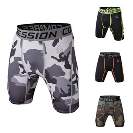 gold compression shorts UK - Wholesale-Men Camouflage Compression Shorts Men Running Soccer Basketball Training Cycling Tights Men Sports Gym Shorts