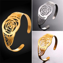trendy roses NZ - U7 Vintage Hollow Rose Shape Bangle Unique Design Stainless Steel Gold Plated Trendy Bracelet Bangle For Women GH2589
