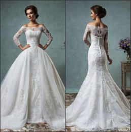 online shopping 2016 New Sexy Sheer Long Sleeves Mermaid Full Lace Wedding Dresses Off The Shoulder Court Train Bridal Gowns With Removable Overskirt AS