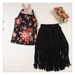 Girls Tassel Shirt NZ - 2015 summer girls outfit tops floral t shirts for girls tassel skirt for girls floral long skirt sets free shipping in stock