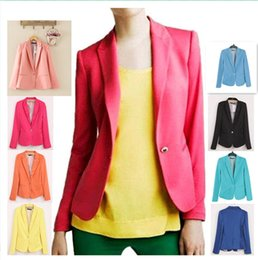 00369ca88b5 Free Shipping 2017 Women New Fashion 7 Colors Plus Size Candy Color Single  Button Blazer Suit Jacket Autumn Jackets Coats Suits Blazers