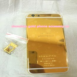 "China 24K Dubai Gold Plating back Housing Cover Skin for iPhone 6 4.7"" 24kt 24ct Limited Edition Golden Back Cover Housing Battery Back For iphone suppliers"