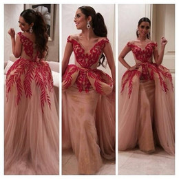 $enCountryForm.capitalKeyWord Australia - 2019 Arabic Style Ball Gown Evening Dresses Short Sleeve V Neck Red Lace Appliques Sequins Nude Tulle Women Formal Party Prom Gowns