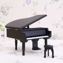 carved wood gifts Australia - New Arrivals Wooden Piano Music Boxes Black Music Boxes with City of Sky