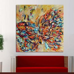 Best Canvas Wall Decor Canada - Handpainted Animal Wall Pictures Abstract Colorful Butterfly Art Oil Painting On Canvas Best Gift Home Decor Hang Wall Art