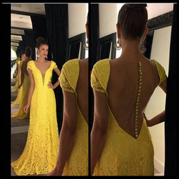 $enCountryForm.capitalKeyWord NZ - 2016 Yellow Sheer Lace Evening Dresses Sexy Deep V Neck Sweep Train Cap Sleeves Mermaid Party Dress with Buttons Back